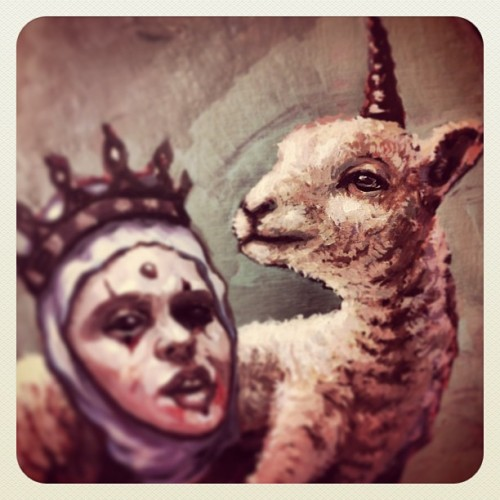 Baaaahhh #teod #teodtomlinson #queen #laartist #lamb #wip #oilpainting #unicorn #painting #art
