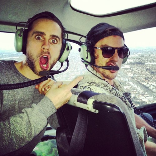 jaredleto:  Me and @shannonleto in a helicopter! What traffic!!!! :)
