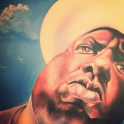 The biggie I did for art of records. Big ups to dj low key. #notorious #notoriousbig #art #oilpainting #painting #biggiesmalls