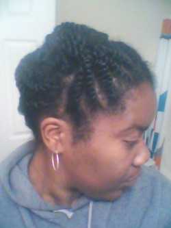 Hair twisted and pinned up for the week