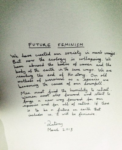 Handwritten note left in each seat by Antony Hegarty at the Givenchy Fall Winter 2013 show