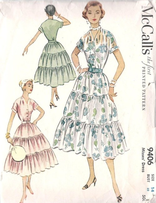 theniftyfifties:  1950s dress sewing pattern illustrations.