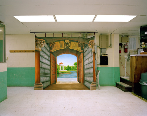 "petapixel:  Prison visiting rooms often contain idealized landscape paintings (sometimes created by the inmates themselves) that serve as portrait backdrops for pictures given to loved ones. Photographer Alyse Emdur spent years documenting these ""Prison Landscapes."" See more here: http://www.petapixel.com/2013/02/25/the-idealized-landscape-paintings-found-in-prison-visiting-rooms/"