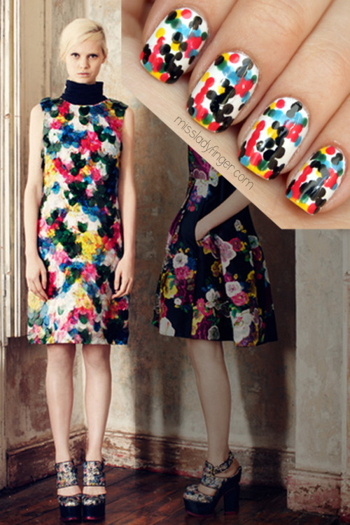 MANICURE MUSE: Erdem Pre-Fall '13 Sorry gents, cleavage is a thing of the past… for Pre-Fall '13 it's all about the collarbone. Plus, learn how to get these Erdem-inspired pointillated Ladyfingers.