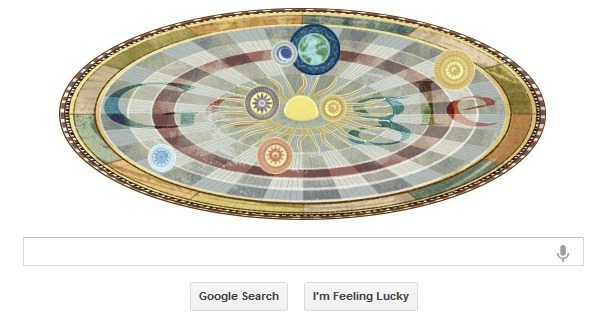 Google's tribute to astronomer Niclolas Copernicus, born 540 years ago today.