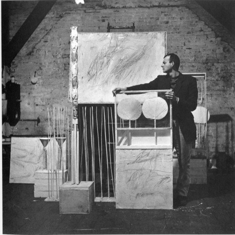 Robert Rauschenberg, Untitled [Cy with his artwork, Rauschenberg's Fulton Street studio (II)], 1954 Happy birthday, Cy Twombly. Learn more about Twombly's sculptures: http://www.tate.org.uk/research/publications/tate-papers/some-notes-on-words-and-things-cy-twomblys-sculptural-practice