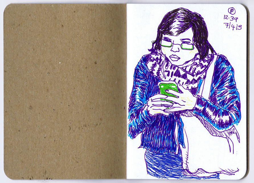 @AnnieKoyama gave me a cool little sketchbook at  #MoCCAfest 2013. Here's the first drawing I did in it.