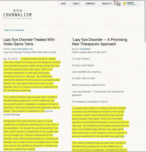thedailywhat:  Web App of the Day: Churnalism Need a screening tool for signs of Churnalism? Head over to the Sunlight Foundation's newly launched plagiarism checker app that can run any piece of text against its extensive database of U.S. press releases, RSS feeds and Wikipedia entries for possible overlaps.  Watch out lazy students