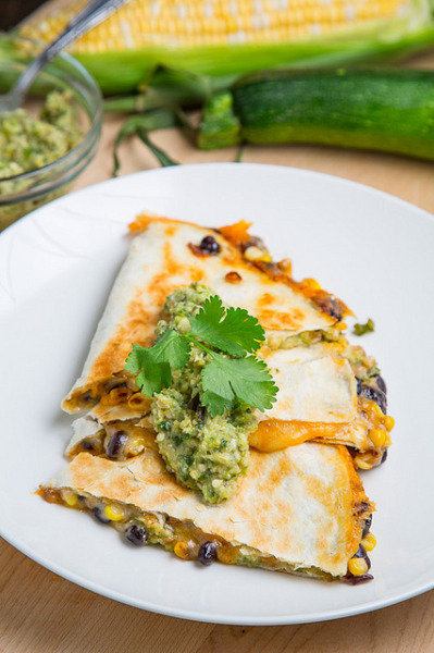 Corn and Black Bean Quesadillas with Roast Zucchini Salsa by Kevin - Closet Cooking on Flickr.