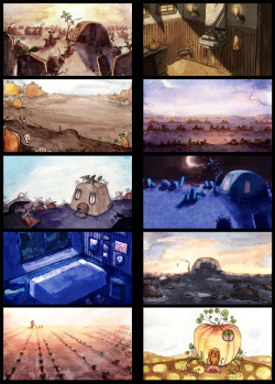 A collection of backgrounds from my student film this year! I painted them with watercolor, and then edited them digitally. It was a lot of fun!