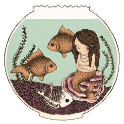 Hungry Fishbowl Mermaid. 2013, ink, graphite, digital © Mai Ly Degnan