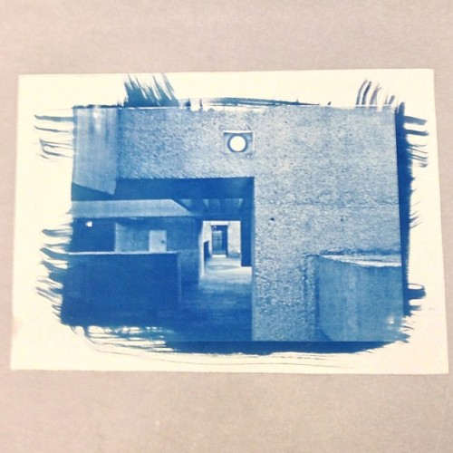 """euanlynn:  Cyanotype print of another photo of the Apollo Pavilion I made in uni  Nice. This looks like an unreleased Bob Tilton 7"""" with songs about Brutalism."""