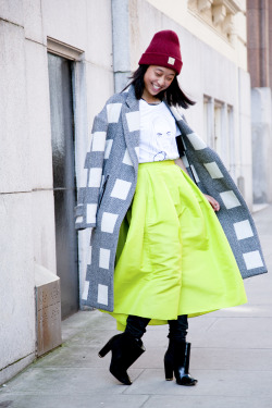 topshop:  Neon midi, sleek coat and a beanie on top. This look is just ace.