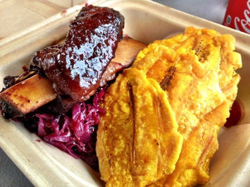 glazed hickory smoked beef ribs, braised red cabbage, tostones