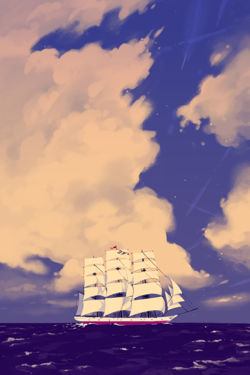 The ClipperA small, quick painting I made originally as part of a series for SPX. A bunch of stuff came up in recent weeks, so&#8230. it looks like this finished print is all there is of that series. But exciting things are in store for the future! I&#8217ve been doing a lot of research on tall ships lately. If you want to learn more about maritime topics or my upcoming GN Four Points, come find me at SPX. :)