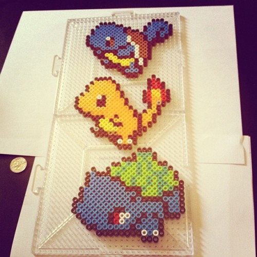 Made some starter Pokemon! #notanerd #pokemon #squirtle #bulbasaur #charmander #perlerbead #pixelart