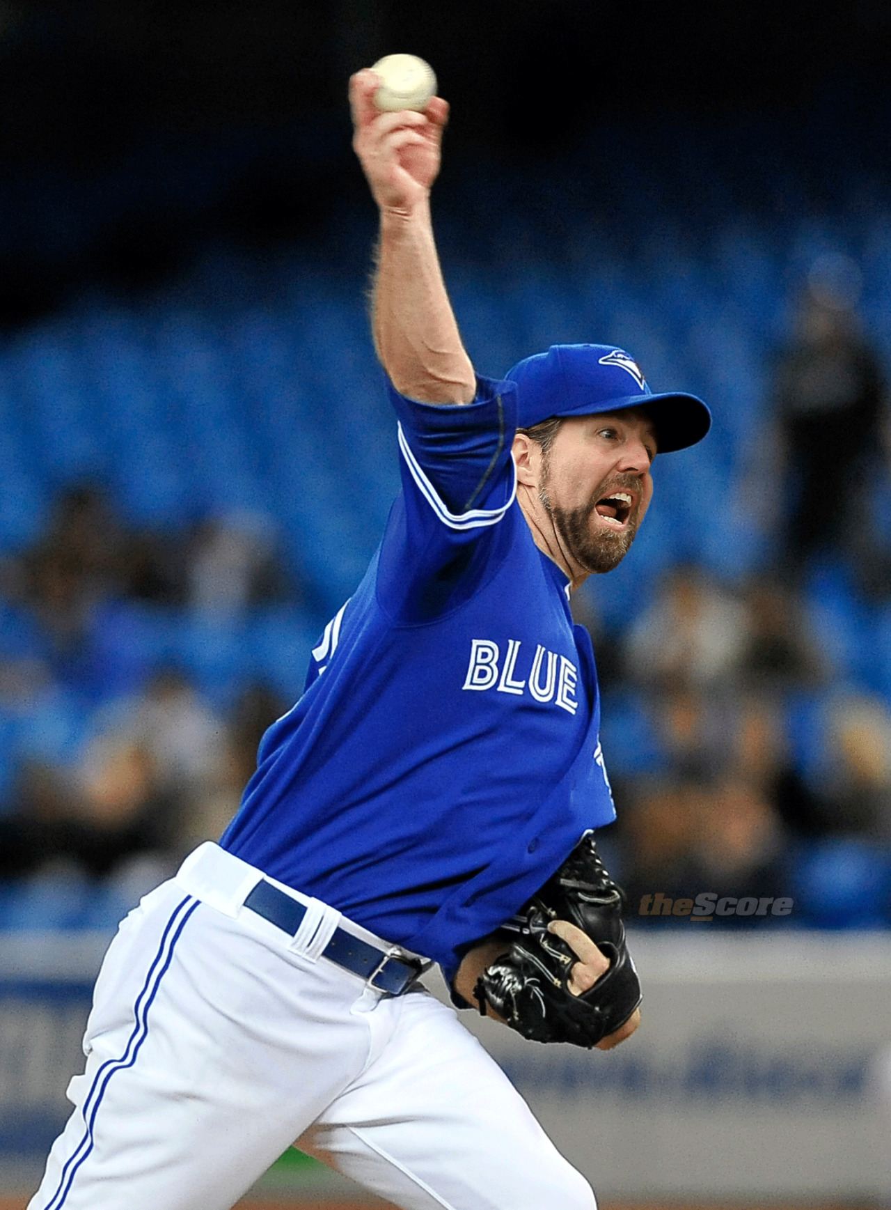 Pic: Jays P @RADickey43 throwing pitches. (In Uniform)