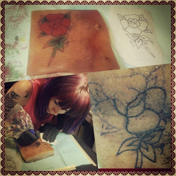 My first time ;) got to tattoo on pigskin today(ew)! So exciting!  I loved it! #tattoo #tattoos #apprentice #tattooed #first #firsttime #pigskin #bacon #rose #traditional #littlepricks #austin #tx #texas #atx