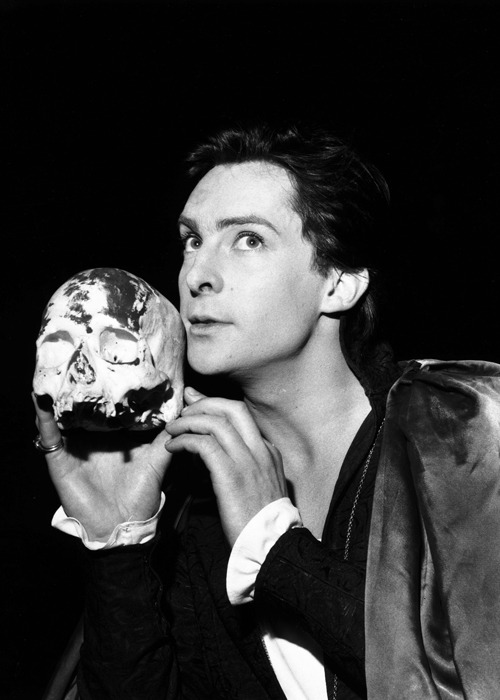 kingmoran:  Actor Jeremy Brett during rehearsal for his part as Hamlet at the Strand Theatre.