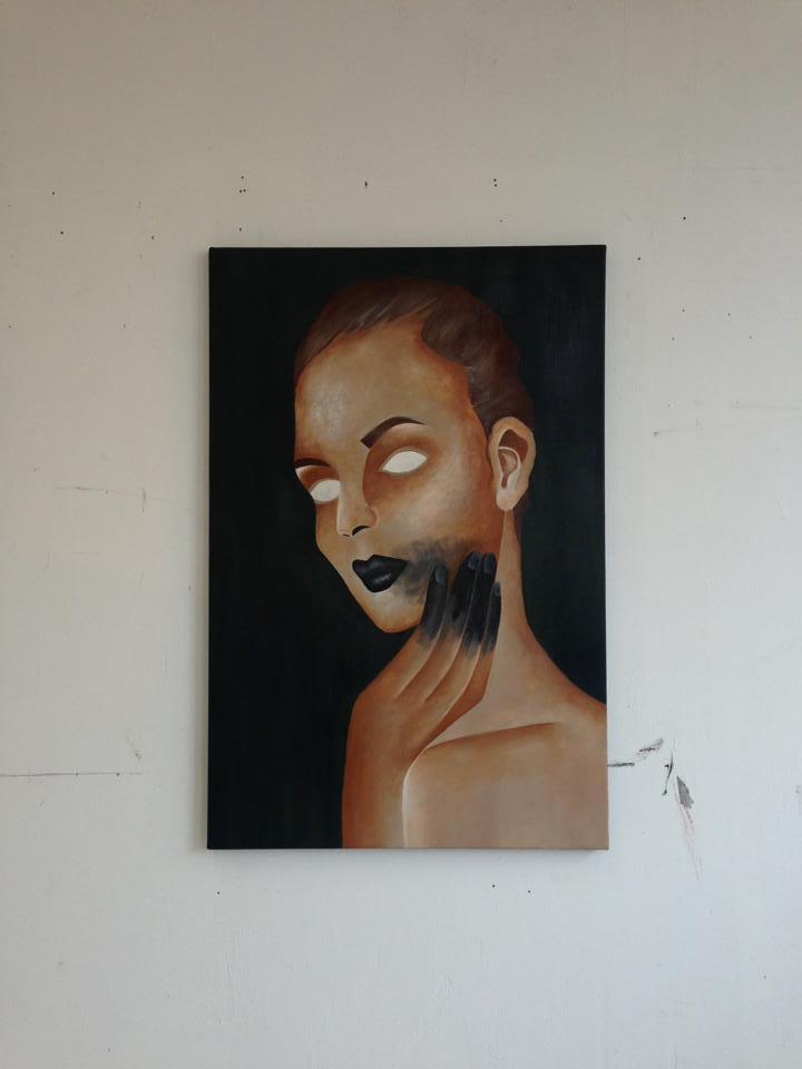 Bad Beauty finally finished and hanging in the studio.