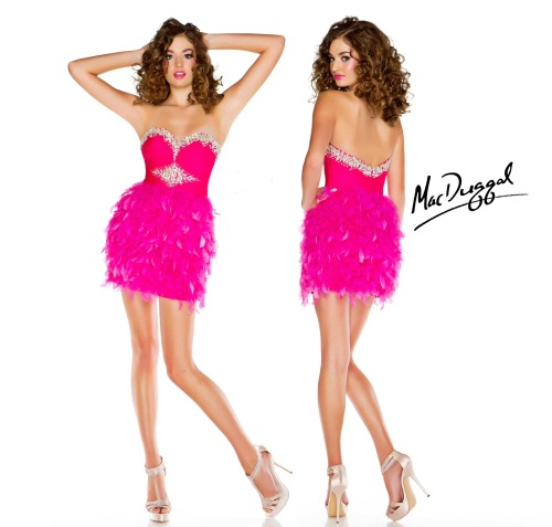 The showstopper dress that has rhinestone beading up top and poppy pink feathers at the bottom: Style #61294B from Edge by Mac Duggal, shop it here. #MiniDressMonday