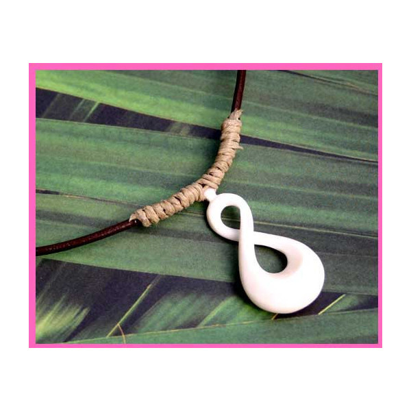 Leather Surfer Necklace With Maori Twist pendant Carved Bone New Zealand Jewelry   ❤ liked on Polyvore (see more knot necklaces)