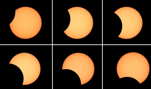 Six photos showing the moon crossing in front of the sun (clockwise from top L) as seen from the Sydney Observatory during an annular eclipse Picture: William West/AFP/Getty Images