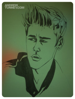Justin Bieber. Another rough sketch, trying to figure out this guy's face. Pen, brush pen, moleskine.