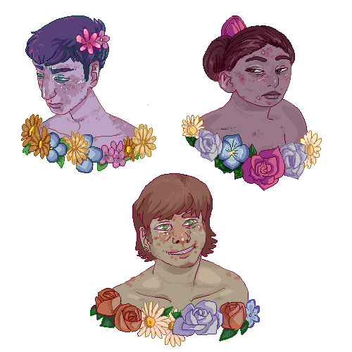 smokingtofu:  acne flower portraits for my new media project (also thank you to Ryan for letting me pimple your face YOU ARE A BIG CUTIE)