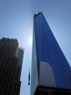 The final piece of One World Trade Center, the antenna/spire, was hoisted to the top yesterday, raising the height of the structure to 1,776 feet.  [h/t fish]