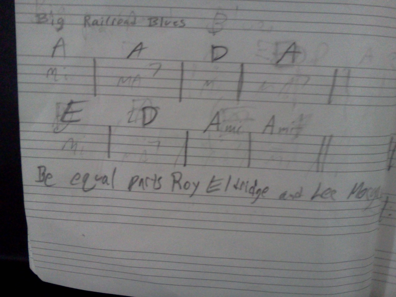 Be equal parts Roy Eldridge and Lee Morgan  This is a note I wrote to myself on how to play this song.  I'm playing trumpet/flugel in Spaceman Spliff:  https://www.facebook.com/pages/Spaceman-Spliff/173344769381415