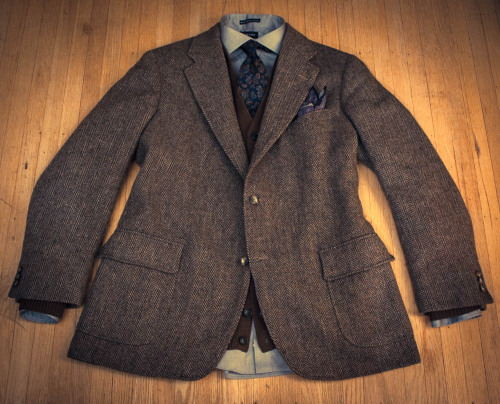 Tweed Sack with Patch Pockets Jacket: Vintage Southwick for Cable Car Clothiers, thrifted $10 Sweater: Uniqlo, $30 Shirt: Lands' End Tailored Fit, $19 Tie: Vintage J. Press, thrifted $2 Pocket Square: Breuer, courtesy of J. Lawrence Khaki's of Carmel