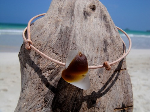 Hawaiian Extremely RARE Amber Brown and Clear Multi Bonfire Beach Glass on India Leather Cord Completely Adjustable & Stackable Bracelet Handmade with Aloha! ….Surfer Chic….