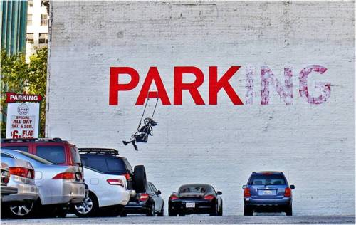"anthropologie:   ""Park"" By Banksy. If you happen to find yourself wandering around Los Angeles, stop by 908 S. Broadway and see it in person."