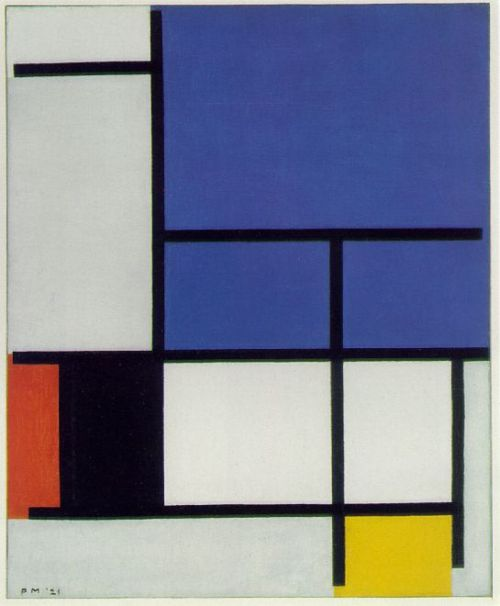 """In order to survive, Mondrian had been a painter of flowers on porcelain for practically his whole life. Perhaps this explains his hatred of nature. … [Mondrian] suppressed curves and all greens because they reminded him of trees, which he loathed. … In 1924 the artist broke away from Theo van Doesburg, who … maintained that the slanted line at a 45-degree incline better corresponded to the dynamism of modern man."" (Art of Our Century, ed Jean-Louis Ferrier, page 429.)"