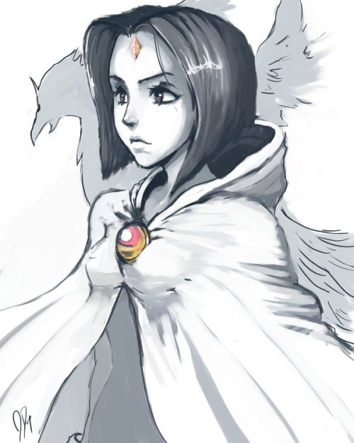 stepchildofthesun:  Raven in White 2.0 by ~CeruleanRaven