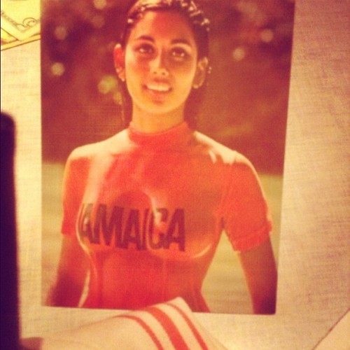 Postcard at Miss Lily's Jamaican restaurant. I used to be so fascinated with this photo as a child in a local arcade / travel agency in the Bronx. I might trace it to my earliest influences into pinup and erotic artwork I created.