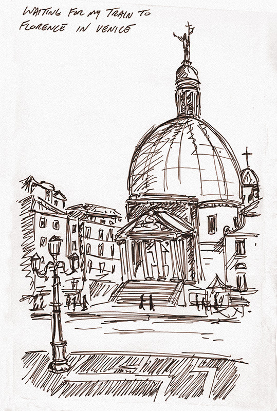 runjimmyrun:  i had a train layover in Venice, so i took out the ol' moleskin and drew across the canal. venice, italy