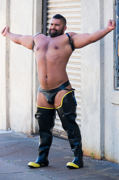 Birthday Rubber, Front Remember those boots I was trying on last month? Treated myself to some shopping at Mr S for my birthday. Got the rubber boots with matching jockstrap and rubber suspender/harness. It's kinda super sexy.