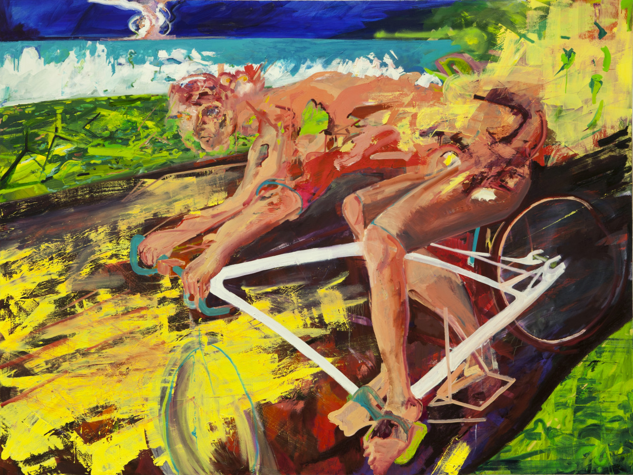 "Cyclist  66"" X 102"" Oil on canvas  2013"