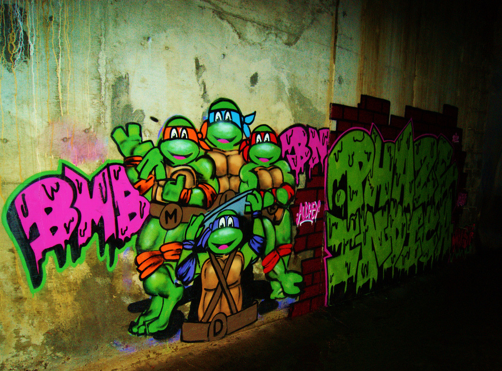 Daily Graffiti Teenage Mutant Ninja Turtles graffiti spotted by eighty8five.0. Check out our Daily Graffiti Archives for more geektastic street art! Add your geeky graffiti pics to our Group Pool on Flickr!