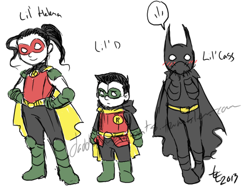 "daddywarbats:  I want to do a cute comic with these three having fabulous adventures. I'm calling it ""The Bat Pack"" in my head. Except I probably can't have Bruce, Alfred, Dick, Jason, Tim or Terry in it because they're all in The-Black-Cat's ""Batman and Sons"" OH WELL WE CAN HAVE ADVENTURES WITHOUT THEM."