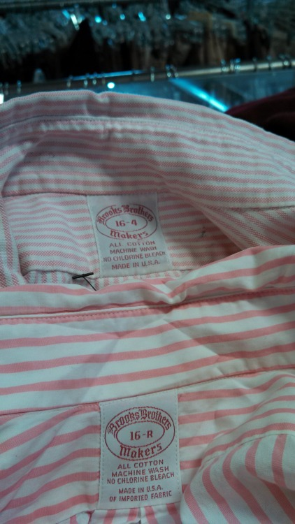 The best pink shirts ever made. Brooks pink university stripe oxford and pink blazer stripe broadcloth.