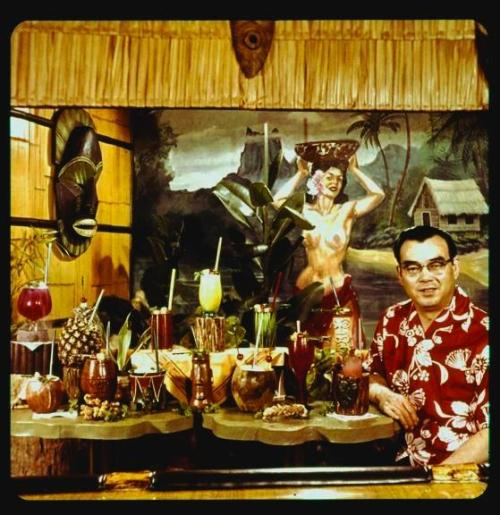 fatvelvetcouch:  Bar Manager George Ono with delicious drinks. Kahiki Supper Club (1961-2000)
