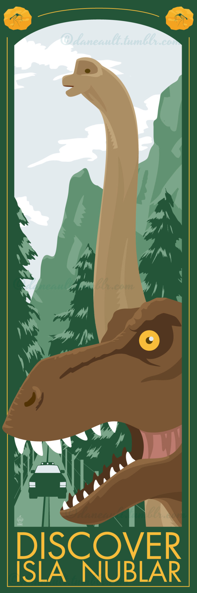 """""""Discover Isla Nublar"""" - Jurassic Park print for ltdartgallery's upcoming """"Picture's Worth a Thousand Words"""" Group art show. I'm pretty happy with how this ended up. I've been fighting to make this print for near 4 years. Start and stop, throw it away, step away, come back in 6 months to try again. Finally after so many stops and starts it came out EXACTLY how I wanted it.  The print is Giclee on watercolor paper, 12"""" x 36"""" (yeah, it's pretty tall), LTD edition TBD."""