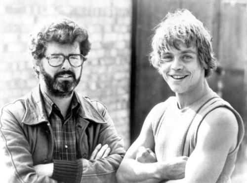 fuckyeahlucasfilm:  George Lucas and Mark Hamil.  Look at those arms. Rawr. (Hamill's, not Lucas'.)