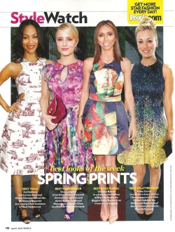Kaley Cuoco looks springtime chic in McGinn's Marley printed dress in the new issue of People magazine!
