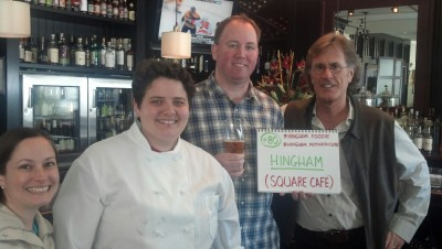 #80/Hingham  Square Cafe  For Hingham, my friend Cindy from the Hingham Foodie organized a mini 3 bar crawl. Square Cafe, The Snug, and Stars. Hingham is such an awesome town. All 3 bars were very generous. The places were all so close that we walked to each one. Featured in this pic with me are,  Liz from Hingham Mother Club, the chef at Square Cafe and Mark from Square Cafe.  Next: Abington