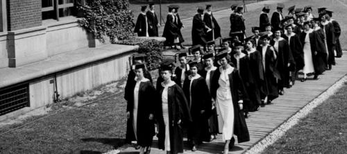 Barnard graduates in procession through campus on Class Day, ca. 1935.  (The Barnard Bulletin/Barnard College Archives)