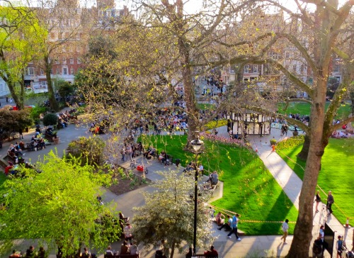 spring in soho square - london, uk, may 2013 (photo: alex smith)
